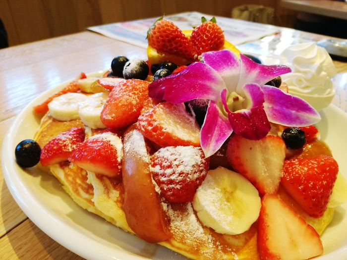Pancakes Food And Drink Food Fruit Freshness Ready-to-eat Plate Dessert Indoors  No People Serving Size Close-up Sweet Food