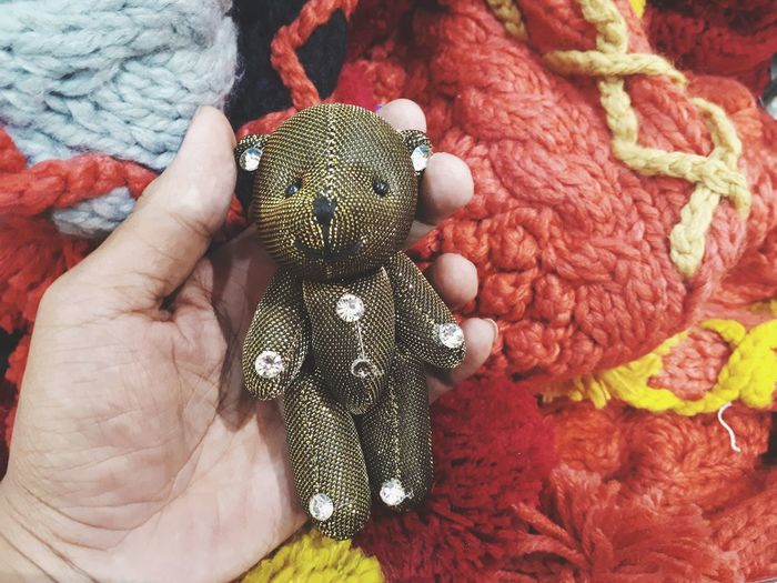 Close up teddy bear in hand, Gift special day concept Holding Hand Handmade Special Moment Love Teddy Bear Teddy Teddybear Bear Gift Gift Shop Colorful Toy Doll Design Detail Pattern Special Product Human Hand Wool Textile Close-up ArtWork Art And Craft Craft Art Craft Product
