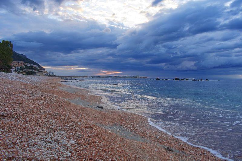 Cala Gonone Sardinia Italy Clouds Sunrise Sea Water Sky Beach Cloud - Sky Land Beauty In Nature Tranquil Scene Scenics - Nature Horizon Tranquility Horizon Over Water Nature Idyllic No People Day Non-urban Scene Outdoors