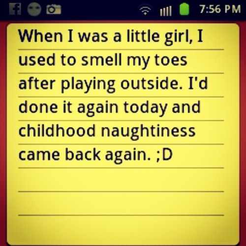 :)) Childhood Naughtiness Asachild Memories notes yellow smelling toes me android smiles follow followteamus igers igersasia igerscebu igersph philippines colorsplasheffect littlephoto picsart Cebu TagsForLikes instalike instalove picoftheday instaphoto instapic