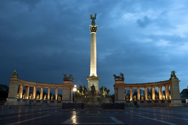 The Heroes Square at night. Blue Hour Budapest Budapest, Hungary Famous Place Heroes Square History Hungary Monument Statue