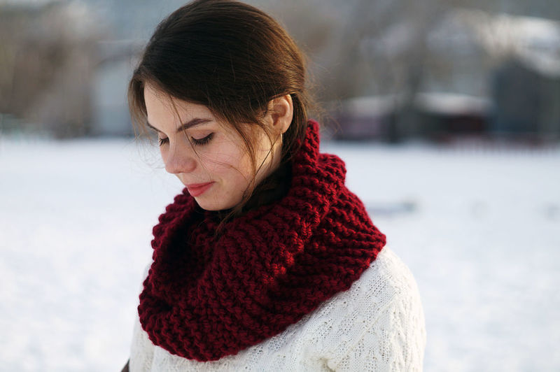 Close-up of woman in snow