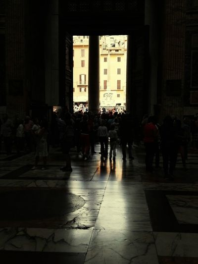 Large Group Of People Architecture Pantheon Pantheon Rome Pantheon Entrance Rome Door Enterance Gate Darkness And Light Reflections Religeous Religion And Beliefs Religious Images Catholic Catholic Church Inside Church