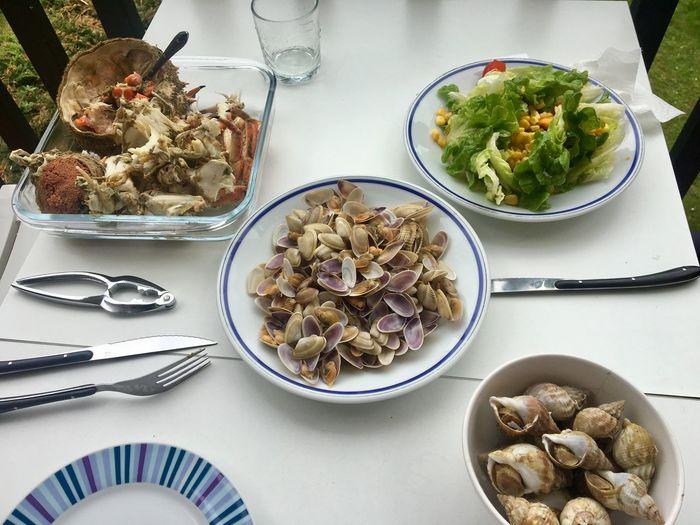 High angle view of seafood on table