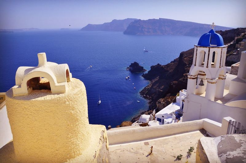 Santorini Water Sea Architecture Built Structure Land Building Exterior Nature Building Beauty In Nature Tranquility Travel Outdoors