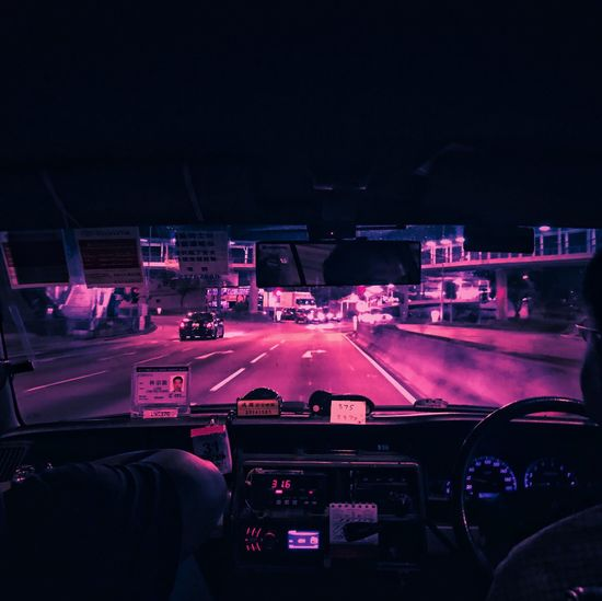 Human Hand Night Real People Human Body Part Illuminated Dashboard Road Street Windshield Car Lifestyles Car Interior Leisure Activity Men One Person Speedometer City Indoors  Control Panel Sky