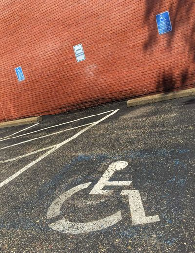 Handicap Parking. Handicap Disabled Disability  Disabilities Disabled Parking Disabled Person Outdoors Outside Park Parking Parking Lot Parking Area Accessibility Accessible Accessibili Accessibilité Help Government Law Regulation Regulations Car