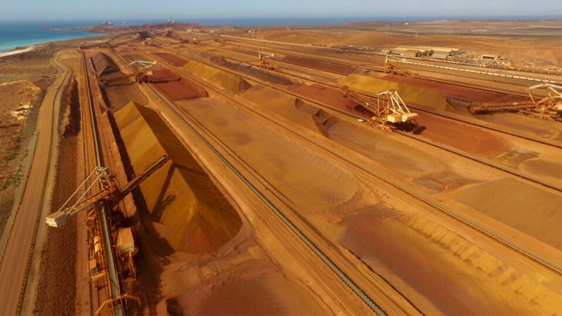 DJI X Eyeem Transportation Industry Aerial View No People Landscape Sky Nature Outdoors Day Pilbara Scenics Stockpile Stockpiling Iron Ore Perspective Diminishing Perspective Western Australia Rugged Beauty Activity Orange Color Pattern Pattern, Texture, Shape And Form Pattern Pieces Reclaimer Flying High