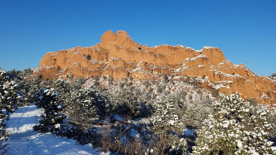 Garden of the Gods, after snowstorm, hiking, rock formation, trail, cold temperatures, trees, bushes Snow Rock Hoodoo Clear Sky Blue Rock - Object Sky Landscape Geology Physical Geography Rock Formation
