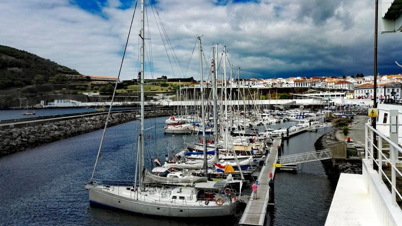 Going Sailing Clouds And Sky EyeEmBestPics High Angle View Eyeemphotography Atlantic Ocean Azoren Landscape Scenic Cityscape Outdoor Photography Terceira Showcase July Eye4photography  Vulcanic Landscape Panoramic View Harbour View Sailboat Cloud - Sky EyeEm Best Shots Skyline