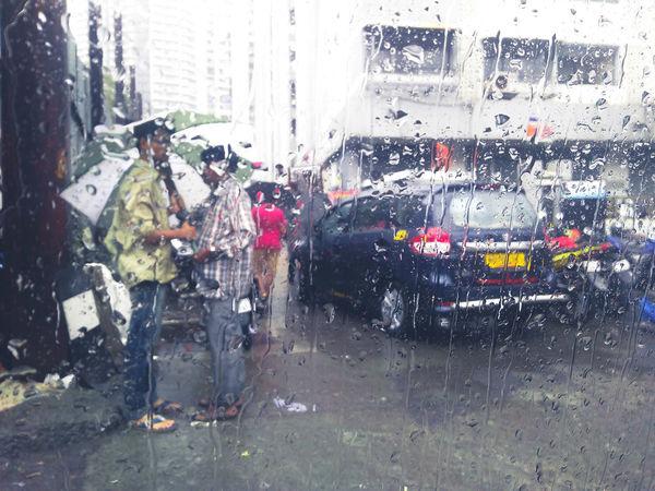 Waiting Monsoon Rainy Days Pouring Umbrella Sharing A Moment Waiting City Men Car Window Land Vehicle Wet Drop Windshield
