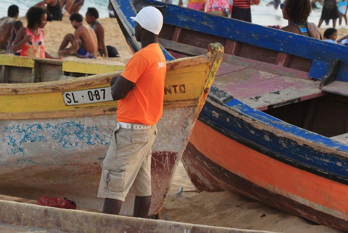 Boats Capo Verde Day Lifeguard  Multi Colored Orange Color Outdoors People Rear View Sal Island Santa Maria Summer 2015 White Cap