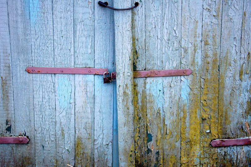 Impression Wood - Material Door Outdoors Day No People Blue Old Garagedoor Moss Rust