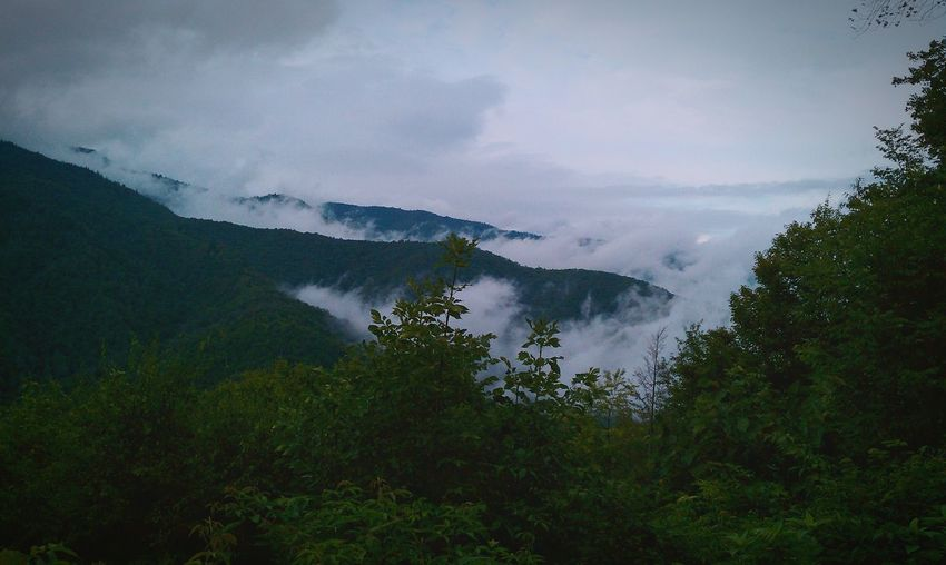 Scenic view of clouds on mountains against sky