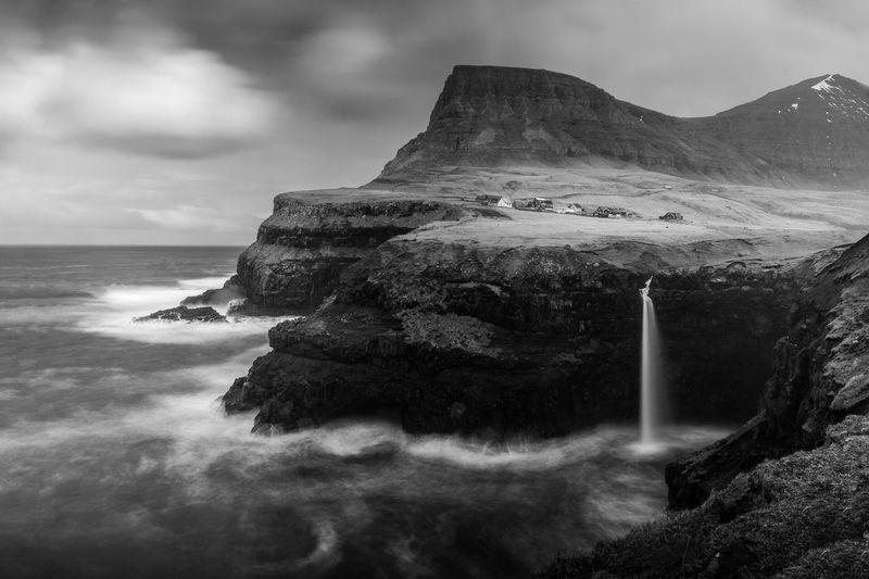 Long Exposure Gasadalur Faroe Islands Waterfall Sea Waves Mountains Blackandwhite