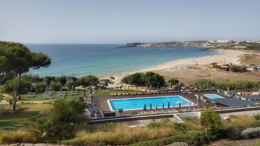Water Sea Beach Vacations Swimming Pool Horizon Over Water Tourist Resort Sand Tree Day Outdoors Summer Blue Nature Swimming Palm Tree Clear Sky Sky Beauty In Nature People Sagres, Algarve Portugal Martinhalsagres