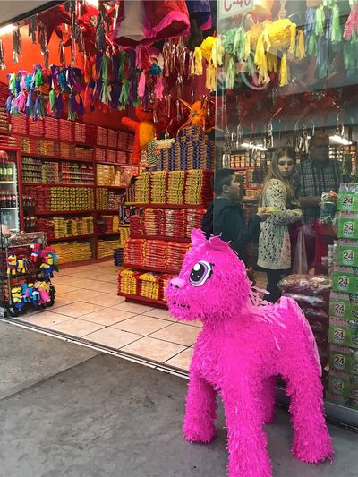 Religion Statue Sculpture Indoors  Multi Colored Day Piñata Girl Boy Mexico Tijuana Candy Candy Store Birthday Celebrate