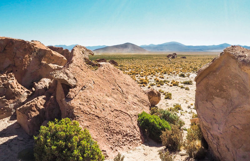 Bolivian desert Arid Climate Beauty In Nature Blue Clear Sky Climate Day Environment Land Landscape Mountain Nature No People Non-urban Scene Outdoors Plant Rock Rock - Object Scenics - Nature Sky Solid Sunlight Tranquil Scene Tranquility