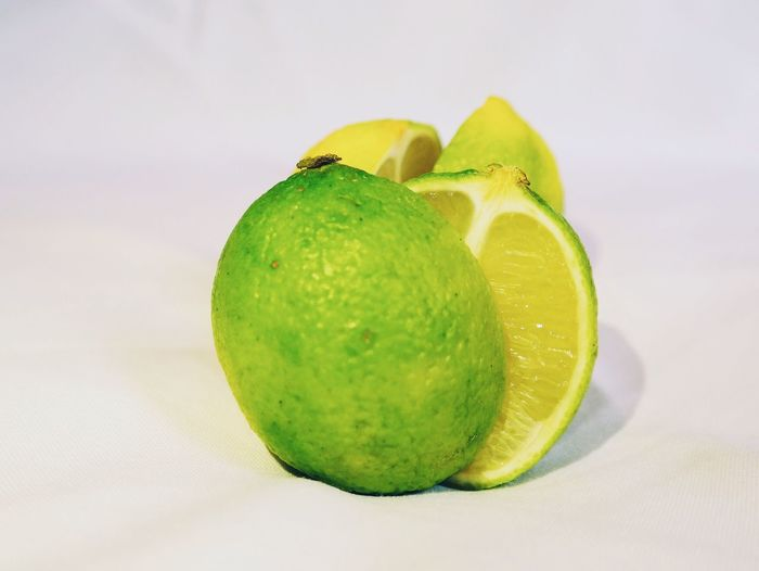 Close-up of green lime slices