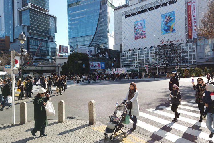 Urban Winter Street City Shibuya Tokyo Japan Architecture Building Exterior Built Structure Group Of People Real People Crowd Large Group Of People Building City Life Men Office Building Exterior Transportation Walking Road Crossing Nature Day Modern Outdoors Skyscraper