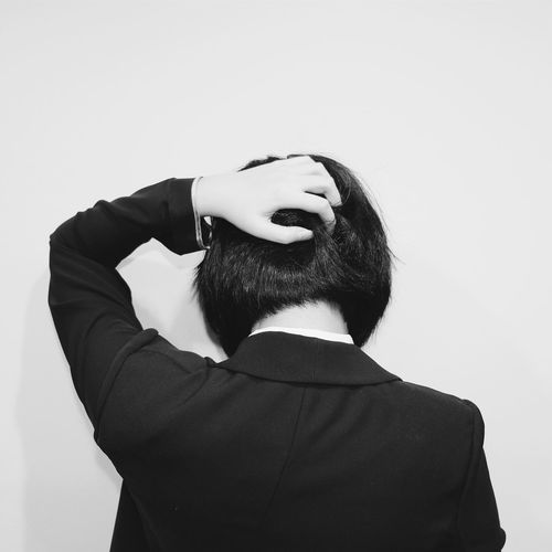 Adults Only Adult One Person People Young Adult Turnback Blackandwhite Bobhair Bobhaircut Suit Working Confused Stressed