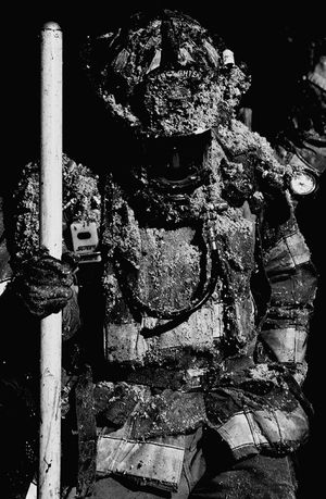 Blown-in insulation is so much fun. Firefighter Working Service Responsibility Pride Honor Commitment Teamwork Sacrafice  The Calling Always Ready No Days Off Fireman SCBA On Shift