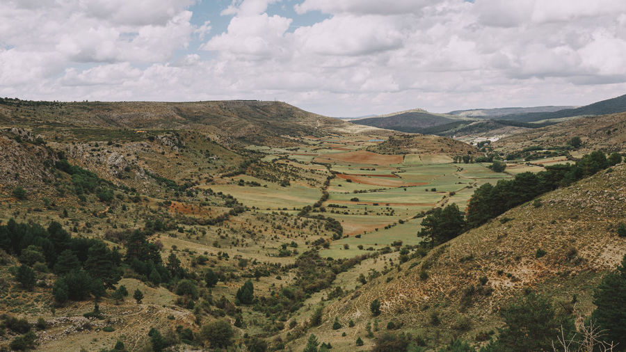 View of the valley in the mountains of the alto tajo national park.