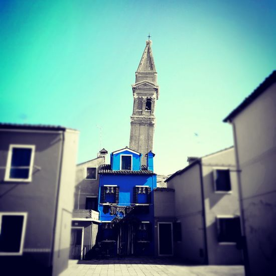 Architecture Built Structure Building Exterior Outdoors Low Angle View No People Day Clear Sky Sky City Blue House Tower Burano, Italy