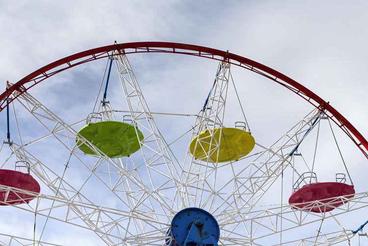 Ferris Wheel Leisure Activity Outdoors Enjoyment Fun Excitement Ferris Wheel Amusement Park Ride Amusement Park Sky No People Built Structure Red Circle Beauty In Nature Yellow Green Color Colors Colours Fair Summer Summertime Summery Conceptual Background