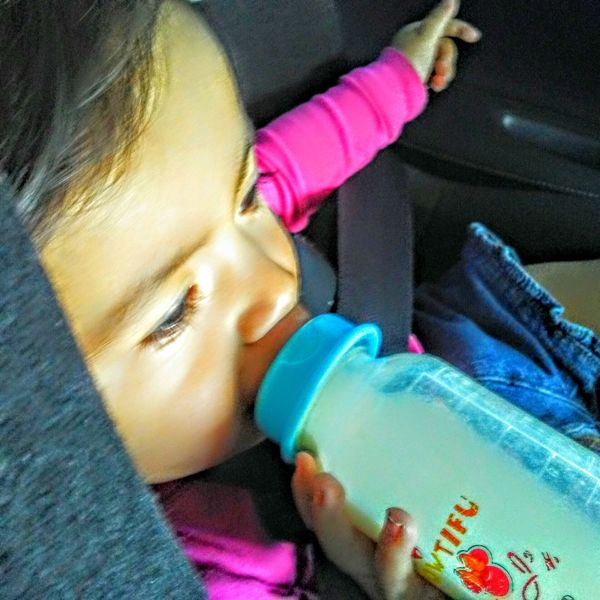 Headshot Human Face Day Close-up BabyGirl ❤ Baby Bottle Beauty In Nature riding in the carseat