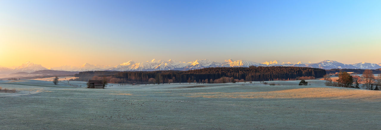 Frosty sunrise over the Allgäu Alps in the Fuessen region Environment Copy Space Panoramic Scenics - Nature Sky Beauty In Nature Cold Temperature Tranquil Scene Nature Tranquility Mountain No People Alps Schongau Sunrise Frost Meadow Dew Frozen Blue Sky Barn Mountain Range Snow Snowcapped Mountain Allgäu Allgäuer Alpen Landscape Panorama Panoramic View Allgäu Alps Winter Füssen Füssen, Bayern, Deutschland