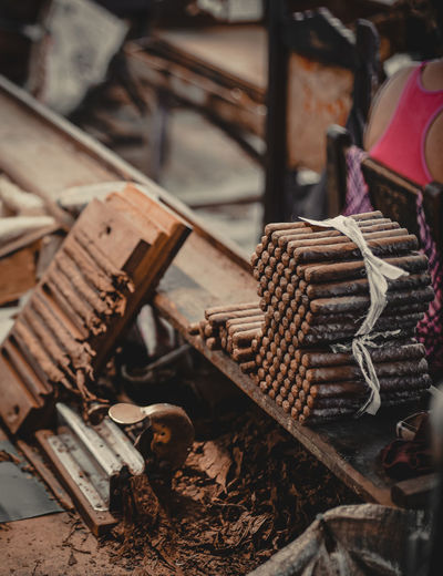 View of cigar in factory