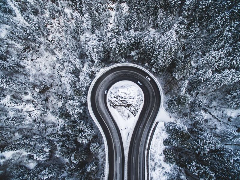 Areal Tree Nature Winter Snow Road Pass Cars Mountain Fresh on Market 2017 Flying High