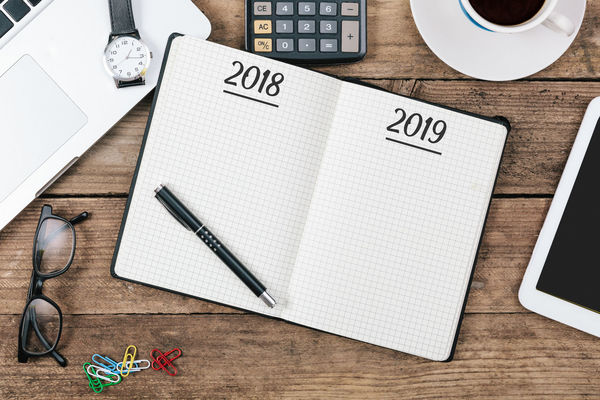 2019 Greeting Happy New New Year Office Silvester Writing Beginning Change Desk Directly Above High Angle View Job Pen Plans Start Year