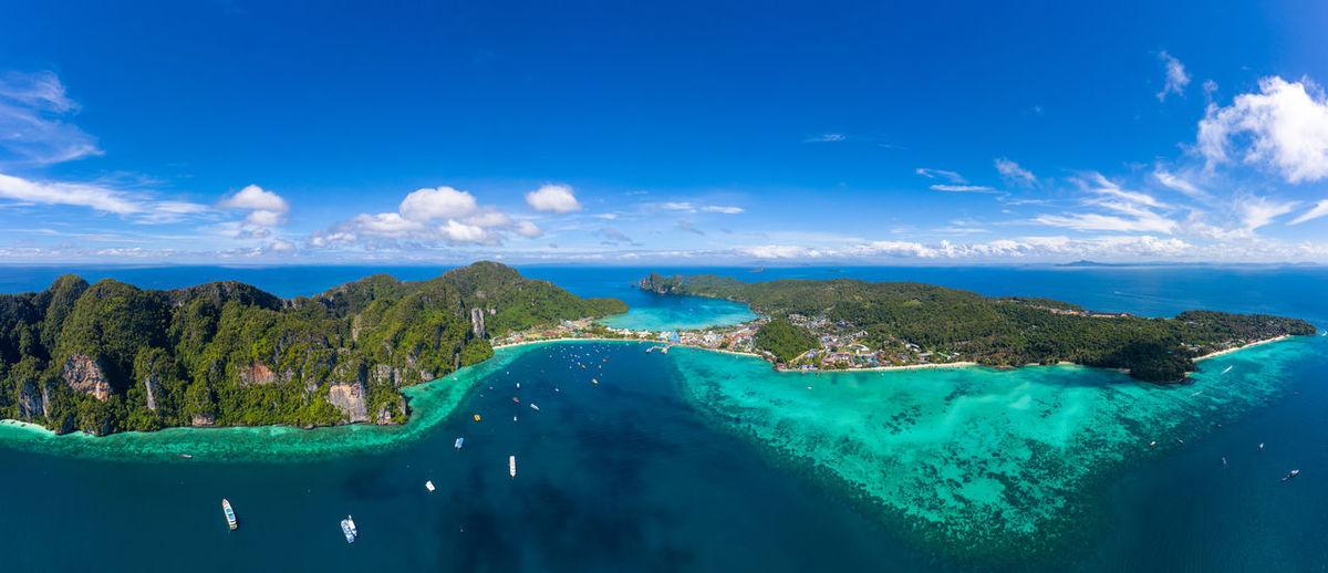 Aerial view of landscapes phi phi island krabi thailand