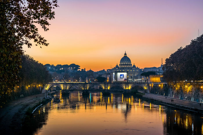 San Pietro Rome Italy River Bridge Bridge - Man Made Structure History Art Moments Journey Holydays Travel Travel Destinations Tourism Sunset Architecture Sky Water Outdoors Built Structure No People Building Exterior Tree Cityscape HUAWEI Photo Award: After Dark