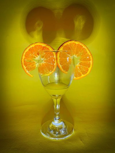 Refreshment Glass Drink Food And Drink Alcohol Drinking Glass Indoors  No People Yellow Freshness Food Close-up Fruit Glass - Material Still Life Citrus Fruit Orange Color Table Healthy Eating