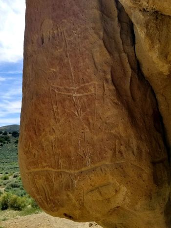 Wyoming Petroglyphs White Mountain Textured  Sand Brown Close-up Sky Geology