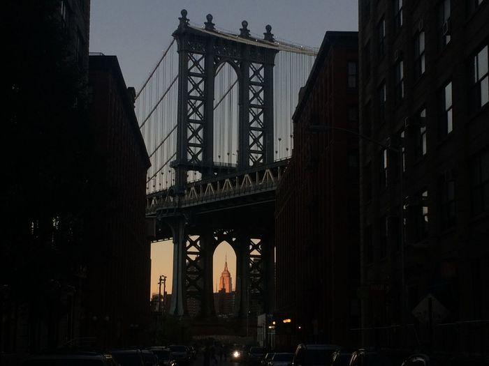 Nyc Icon Brooklyn Bridge Manhattan Bridge Empire State Building Sunset Iconic View New York City