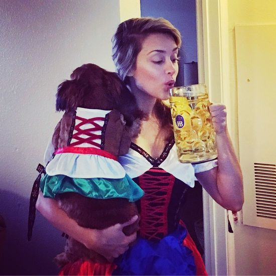 Beer Beermaid Costume Minidaschound Longhaireddachshund Momanddaughter Dogtoberfest Germany Austin Austin Texas Domain