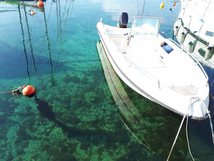 Clear Water Beach Emerald Green Transparent Water Green Color Acqua Limpida Water Nautical Vessel Moored Harbor High Angle View Sea Buoy Boat Jet Boat Motorboat Sailing Sailboat Sailing Ship