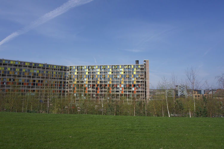 Renovated buildings at Park Hill, Sheffield under blue sky Sheffield Park Hill Architecture Sky Built Structure Building Exterior Building Nature Day No People Outdoors Blue Apartment Grass Plant Land Field Green Color Tree City Copy Space Landscape