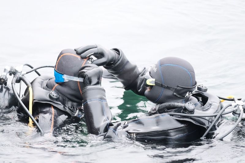 Diving in the cold water Water Sport Scuba Diving Aquatic Sport Aqualung - Diving Equipment Sea Underwater Exploration Leisure Activity Adventure Diving Equipment Wetsuit Underwater Diving Lifestyles Diving Suit Day Real People Nature Extreme Sports People