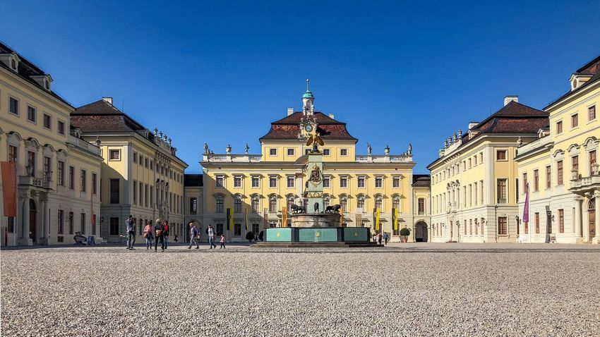 Ludwigsburger Schloss Castle Ludwigsburg Architecture Built Structure Building Exterior Building Sky City Nature Clear Sky Travel Destinations Blue Incidental People Travel History Tourism Outdoors Day Sunlight The Past Spire  Street
