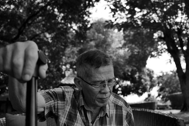 Senior Man Holding Walking Cane While Sitting Against Trees