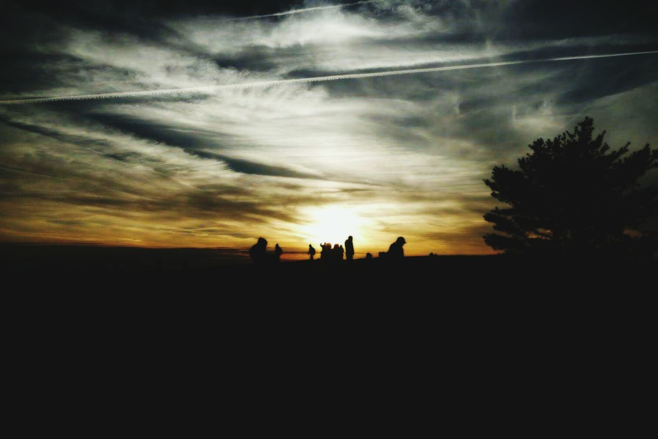 silhouette, sunset, sky, nature, landscape, togetherness, men, beauty in nature, real people, scenics, tree, outdoors, day, people