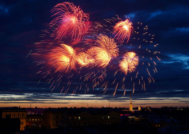 Firework On Saint Petersburg Eyerm Best Shots No People Cityscape Arts Culture And Entertainment Night Sky Celebration Victory Day Victory Day Russia Saint Petersburg Cloud - Sky Event