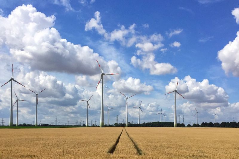 Sky And Clouds Field Wind Energy Brandenburg Landscape