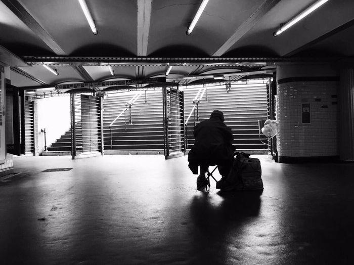 Real People Paris Metro Station Ópera De Paris Transport One Man Only One Person People Blackandwhite Beggar Vagabond Old Man