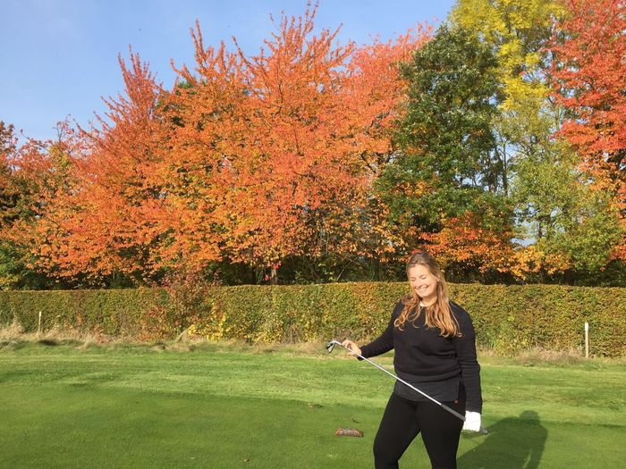 Enjoying a day outside playing golf with my best friend Autumn Colors Colourful Trees Nederland Maastricht Golfing Sunlight And Shadow